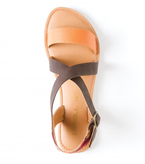 Surf O'Neill Ipanema Sandals.  Faux leather upper; multi colored woven fabric overlay; back heel strap; metal buckle closure; padded faux leather footbed with dtm stitching; sandal bottom. - $21.99