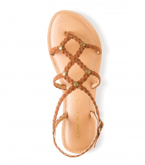 Surf O'Neill Carmel Sandals.  Faux suede braided strap upper; novelty hardware atop braided straps; padded faux leather topsole with stitch detail; sandal bottom outsole. - $21.99