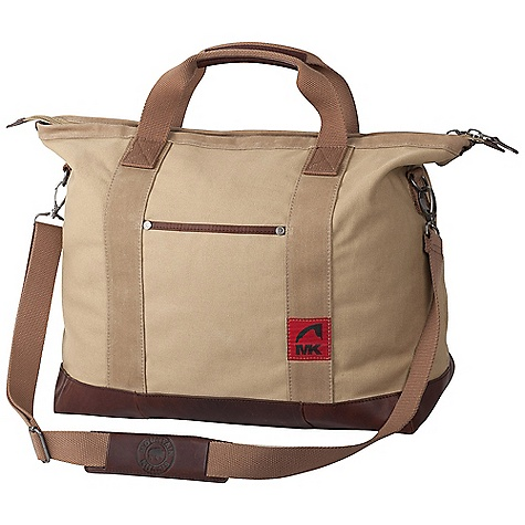 Entertainment Free Shipping. Mountain Khakis Signature Tote Bag DECENT FEATURES of the Mountain Khakis Signature Tote Bag Zippered Top Closure External Slip Pocket with Leather Trim MK Antique Silver Bison Rivets Leather Bottom and Trimmed Haul Handles Removable Shoulder Strap with Embossed Leather Pad Removable Interior Organization Panel Red Flag MK Label The SPECS Volume: 18.4 liter Dimension: (H x W x D): 15.75 x 17.5 x 9in. Body: 20 oz Canvas, 18 oz Waxed Canvas Bottom and Trims: 100% Leather - $179.95