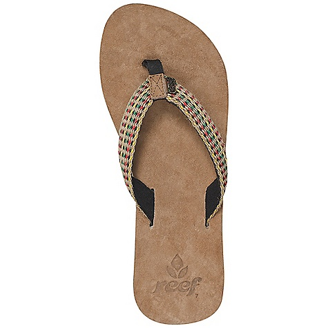 Surf The Reef Women's Reef Gypsylove Sandal is a suede sandal for dressing up jeans or pairing with a sundress. The Gypsylove has a suede leather Footbed and toepost for soft comfort throughout the day. The woven strap is multicolored for accessorizing your feet, with a soft terry cloth lining on the inside. The rubber Outsole is durable for the summer sidewalk Sales and provides traction when needed. Features of the Reef Women's Reef Gypsylove Sandal Woven strap with ultra soft terry cloth lining Suede leather toe post overlay; woven polyester toe post Soft suede leather Footbed with anatomical arch support Rubber sponge Outsole for Flexibility - $14.99