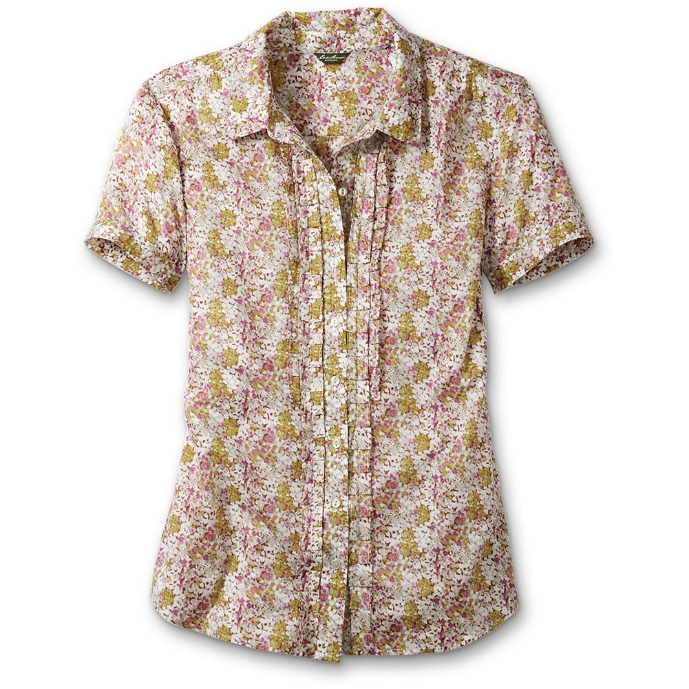 Entertainment Eddie Bauer Printed Ruffle Shirt - A nested ruffle placket gives a basic button-down vintage flair. Short sleeves. Bust darts for feminine shape. Classic fit. Length: 27.5'. Imported. - $19.99