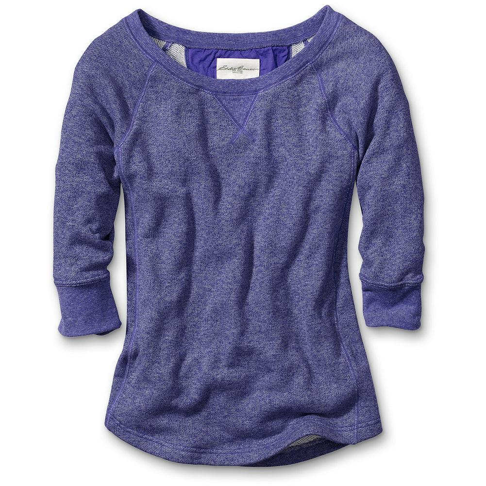 "Eddie Bauer Marled French Terry Sweatshirt - An off-the-clock classic with the speckled texture of marled yarn. 3/4-length raglan sleeves, ""v"" patch detail, rib trim at neck and sleeves and curved hem for a feminine touch. Classic fit. Length: 26"". Imported. - $39.95"