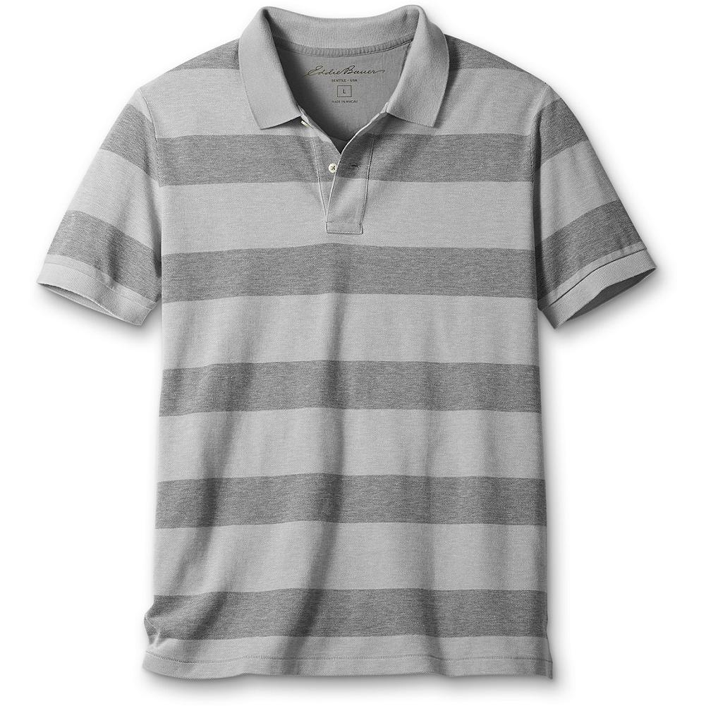 "Fitness Eddie Bauer Classic Fit Oxford Stripe Field Polo Shirt - Supremely soft, high-performance combed cotton pique in sporty stripes. Wrinkle-, fade- and shrink-resistant. No-curl collar. Drop-tail hem. Button placket. Ribbed trim. Classic fit. Length: 29.5"". Imported. - $9.99"