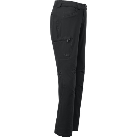 Entertainment Whether you're headed up a rock face or down a trail, stretch-softshell Outdoor Research Voodoo Softshell Pants will keep you dry and comfortable without limiting your range of motion. The water-resistant fabric pulls moisture away from your skin to protect you from moisture inside-out and outside-in. - $98.95