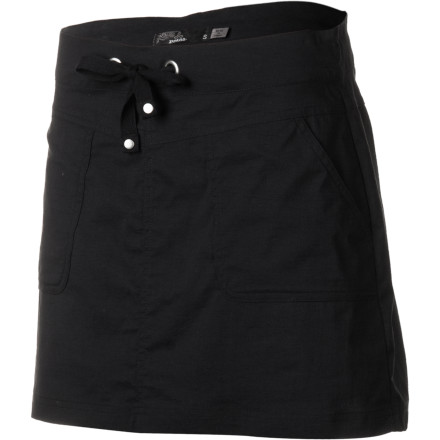 Hit the road this spring in lightweight comfort and style with the prAna Women's Bliss Skirt. Its DWR coating sheds droplets of rain or ocean-spray, and its wrinkle-resistance fabric keeps the Bliss looking fresh even after hours of travel. - $54.95