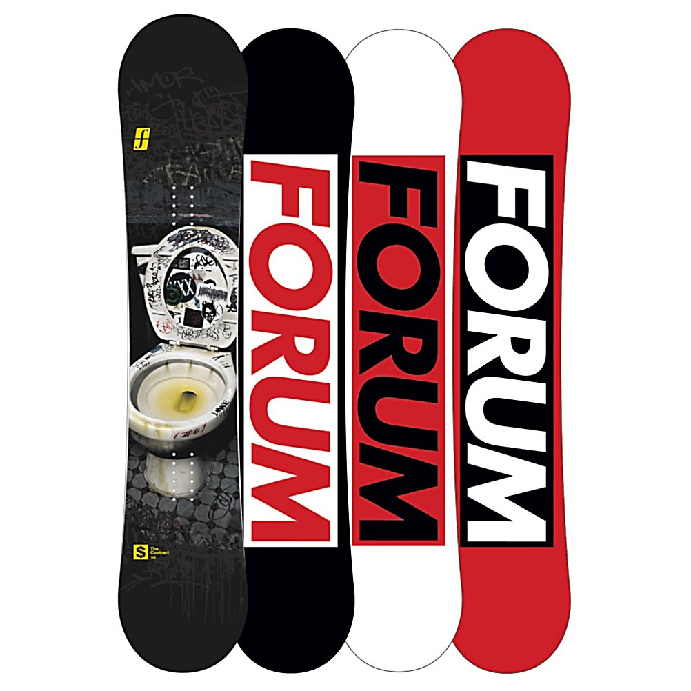 Snowboard Forum The Contract Snowboard - It's time to get your bus pass out and hit the streets with Forum Contract. Built for life on the streets, this urban deck hangs with ho-boos and hoodlums. Built to be destroyed the Contact comes with a two year warranty and features some of the gnarliest tech a street board can have. Stronger wood core, laminates and edges the Contract is built to be thrown down 15 foot stairs onto a rail landing on a snow pile you stole from your local ice arena. 0-60 Base is super-quick from start getting you up to speed faster then any base on the market. Don't worry about catching your edge since they are already beveled up ready sign a deal with that rail. The Contract is going to become a city wide epidemic. . Base Name: 0 to 60 Base, Stance Width: 22-23in, Stance Setback: Centered, Special Features: Beveled Bad Ass Edges, Warranty: Two Year, Skill Range: Beginner - Advanced Intermediate, Model Year: 2013, Product ID: 308335, Model Number: 276108-000146, Skill Level: Beginner, Gender: Mens, Magnatraction: No, Hole Pattern: Standard 4 Hole, Construction Type: Sidewall Construction, Core Material: Wood, Rocker Type: Pop Camber, Board Width: Regular, Pipe Oriented: No, Flex: Soft, Shape: Twin, Rocker Profile: Camber, Waist Width: 247mm(148cm), Recommended Use: Freestyle, Core Name: Bad Ass Core, Base Material: Extruded P-tex - $199.91