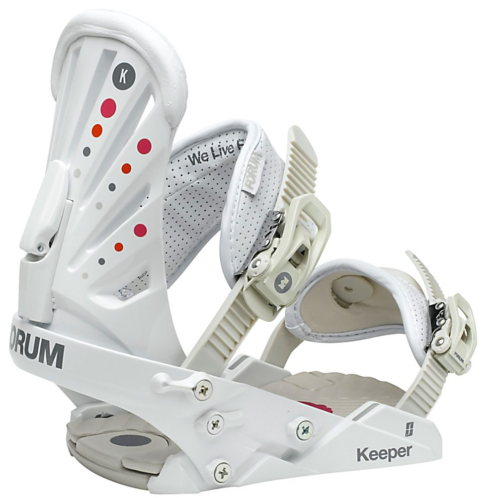 Snowboard Forum The Keeper Womens Snowboard Bindings - The Forum womens Keeper binding is the perfect blend of metal meets nylon. Nylon composites underfoot for increased dampening, flexibility, and feel and Aircraft-grade aluminum in the heelcup to provide strength and support where they're needed most. Good Vibes Hinge Disk utilizes two separate pieces that operate independently, allowing the binding to flex underfoot, creating a perfect feel. The Bubbler strap brings comfort with its thick inset padding and 3D interior spine and the Throwdown Capstrap cinches boots into the heel cup for precise edge control. The Forum Keeper is your new partner in crime. . Strap Material: Bubbler Ankle Strap and Throwdown Toe Strap, Flex: Soft, Buckles: Aluminum, Warranty: One Year, Chassis Material: Nylon, Binding Compatibility: Standard 4 Hole, Skill Range: Intermediate - Advanced, Model Year: 2013, Product ID: 308709, Gender: Womens, Skill Level: Intermediate, Model Number: 271721-117, Standard 4 Hole Compatible: Yes, Traditional Burton (3D) Compatible: No, ICS Channel Compatible: No, Canted Footbed: No, Quick Entry: No, Toe Strap Style: Cap, Recommended Use: Freestyle - $79.93