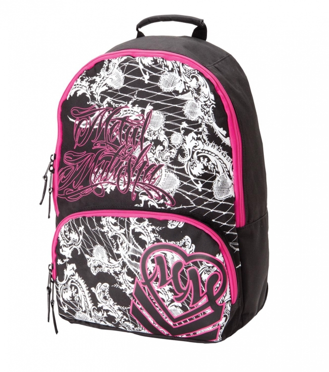 "Motorsports Metal Mulisha Maidens Backpack. Black polyester backpack with screenprint; contrast pink zippers; black patent faux leather zipper pulls; and black satin lined straps.14""W x 17""T x 4.5""D - $23.99"