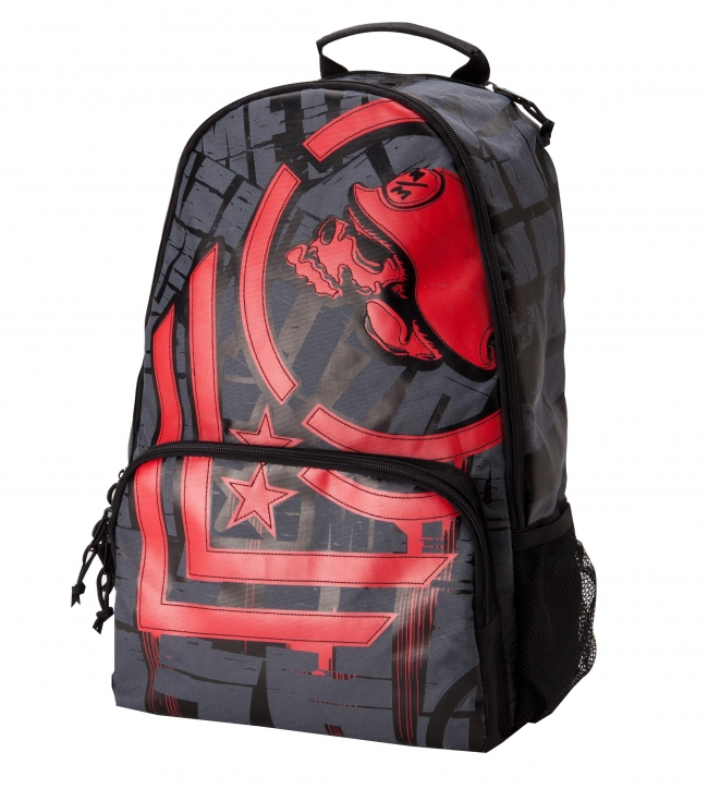 Motorsports Metal Mulisha Mens Backpack. Backpack with engineered faux applique chevron logo; laptop holder inside main compartment; front organizer pocket; i.d holder; mp3 pocket with port; two side mesh pockets and one color back strap print. - $26.99