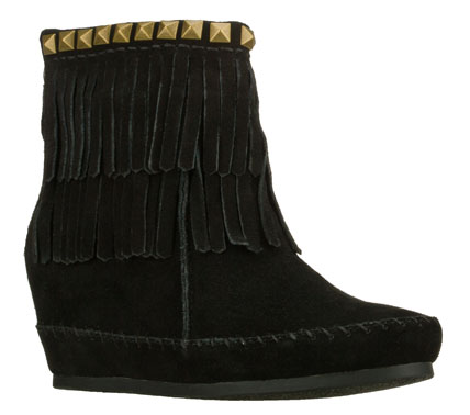 Enjoy all the benefits in style with the SKECHERS SKCH Plus 3: Soaring Eagle - Moro boot.  Soft suede upper in a hidden wedge back zipper casual ankle boot with fringe accents. - $85.00