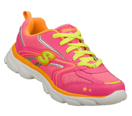 Fitness Get her up and running in the SKECHERS Lite Waves - Sonic Sport shoe.  Smooth leather; synthetic and mesh fabric upper in a lace up athletic sporty training sneaker with stitching and overlay accents. - $37.00