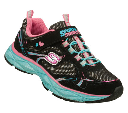 Fitness Sparkling fun and lightweight comfort come in the SKECHERS Sporty Shorty: Lite Diamond - Etched Up shoe.  Smooth leather; synthetic and mesh fabric upper in a slip on bungee laced sporty athletic training sneaker with stitching and overlay accents. - $44.00