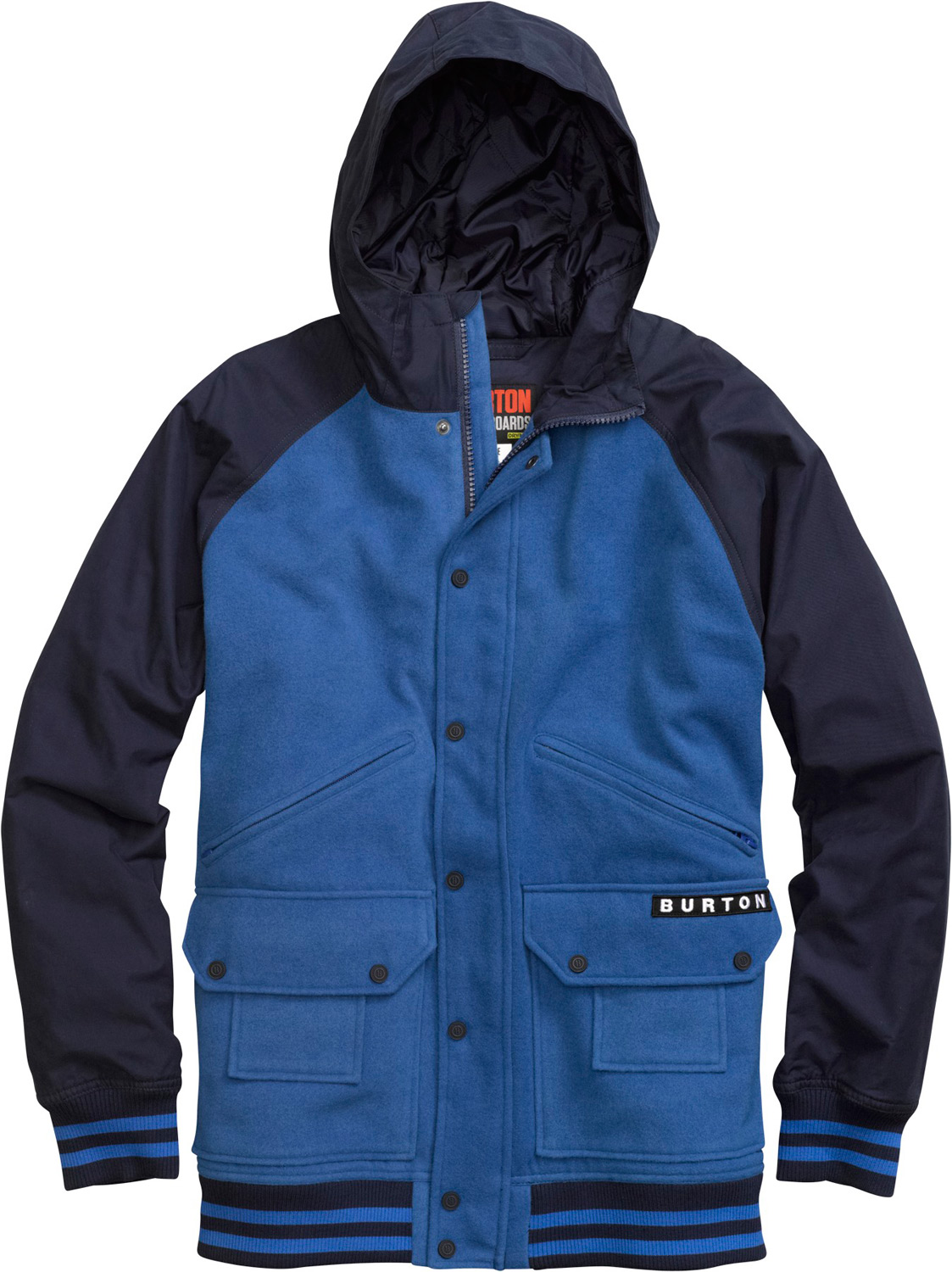 Snowboard Varsity jacket with elemental resistance and a diamond quilted lining.Key Features of the Burton B Side Jacket: Sig Fit DRYRIDE Thermex™ Wool-Like Woven Polyester Body with Cotton/Polyester Blended Sleeves/Hood and Mist-Defy Diamond Quilted Taffeta Lining with Thermacore™ Insulation [100G Body / 60G Sleeves] Zip and Button-Up Center Front Closure Zippered Handwarmer Pockets Interior Sound Pocket Chafe-Free Chin Guard - $119.95
