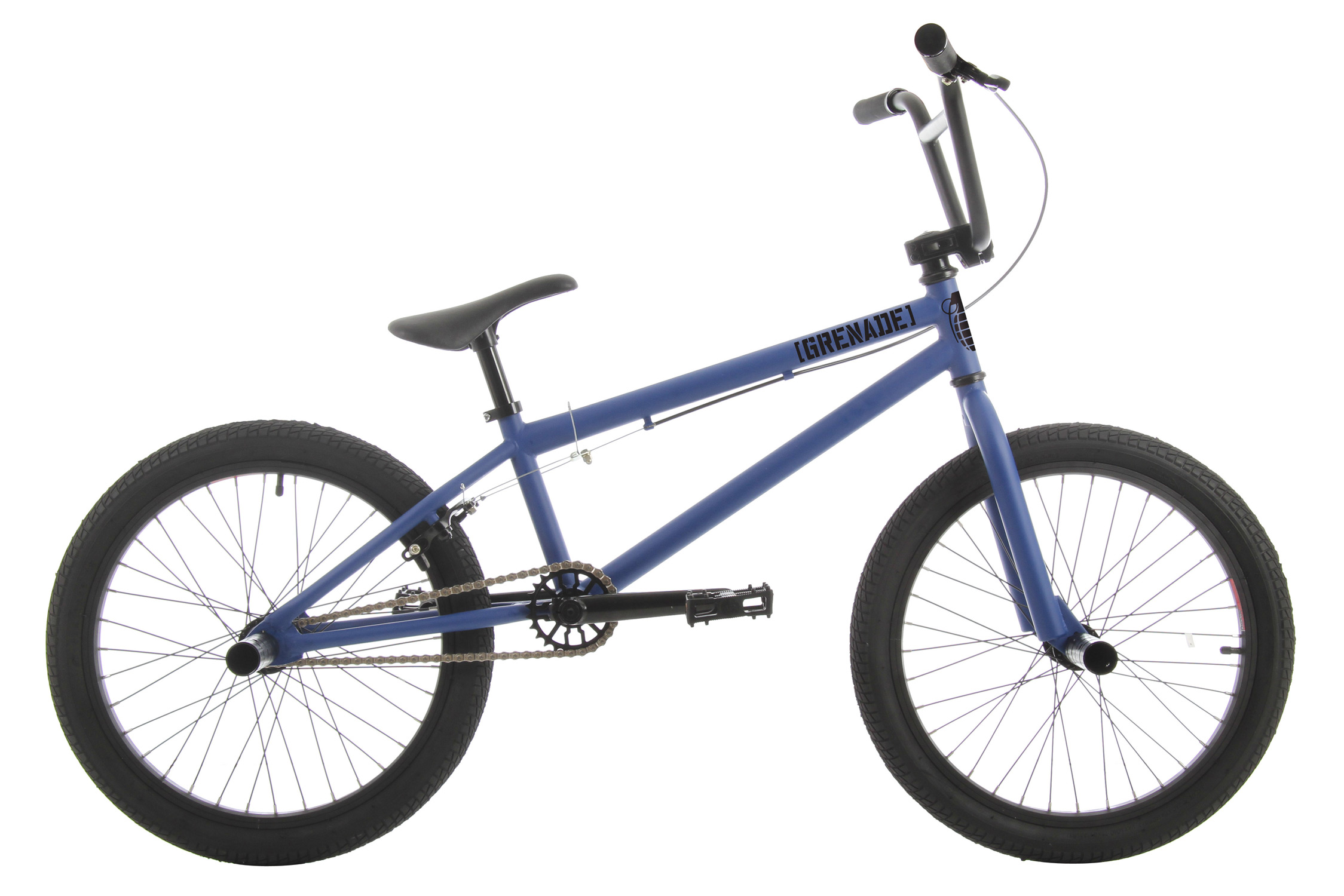 "BMX The 2012 Grenade Stealth is the top-of-the-line in Grenade's lineup of ""entry level"" street/ trail BMX bikes, but as you can see, the Stealth is not your standard entry level bike with its 100% Cromoly Frame, Fork and Handlebar and 25/9 Micro Drive System and its features do not stop there. The Stealth features Framed Gun Grips with Alloy Grip Locks, Framed Detonator Alloy Stem with weight saving cut-outs, Framed Pipe Bomb 175mm Tubular Cromoly Cranks with Cromoly Spindle, Framed Mid Sealed Bottom Bracket, Framed 25 Tooth Alloy Sprocket, KMC HL710 Half Link chain, Framed Platform Pedals, Framed Cannon 14mm Alloy Hubset with a 9 Tooth Driver in the rear, Framed Flak Jacket Double Wall Alloy Rims, and Framed Launcher Saddle/ Post Combo Seat for weight reduction. The Grenade Stealth Bike is as at home on the street as it is on the trails, with its agile but stable geometry and its quality packed components.These Grenade BMX bikes come without decals applied. Each bike is shipped with a decal packet, containing a number of decals of different styles and colors. This allows the rider to customize the bike to their liking.    Key Features of the Grenade Stealth BMX Bike 20"":  FRAME: 100% CroMo with 20.4"" Top Tube  FORKS: 100% CroMo Forks  BARS: 100% CroMo 8"" Rise Bars  GRIPS: Framed Gun Grips with Grip Locks  STEM: Framed Detonator Alloy Stem with Cutouts  HEADSET: 1 1/8"" Threadless Headset  BRAKE LEVER: Framed Alloy Lever  BRAKE: Framed Alloy U-Brakes  CRANKS: Framed Pipe Bomb 175mm Tubular CroMo Cranks with Sealed Bottom Bracket  SPROCKET: Framed 25 Tooth Alloy Sprocket  CHAIN: KMC Half Link HL710  PEDALS: Framed Platform Pedals  FRONT HUB: Framed Cannon 14mm 36 Hole Alloy Hub  REAR HUB: Framed Cannon 14mm 36 Hole Alloy Hub with 9 Tooth Driver  RIMS: Framed Flak Jacket Double Wall Alloy Rims  TIRES: Framed WD 20"" X 2.125"" Tires  SADDLE: Framed Launcher Saddle/ Post Combo  SEAT POST: Framed Launcher Saddle/ Post Combo  CLAMP: Framed Alloy Clamp  PEGS: Framed Steel Pegs (2 PCS   TOP TUBE: 20.4""  HEAD TUBE ANGLE: 74deg  SEAT TUBE: 9.5""  SEAT TUBE ANGLE: 71deg  CHAINSTAY: 14""  BB HEIGHT: 11.6""  APPROX WEIGHT: 25 lbs  WHEELBASE: 36.25"" - $269.95"