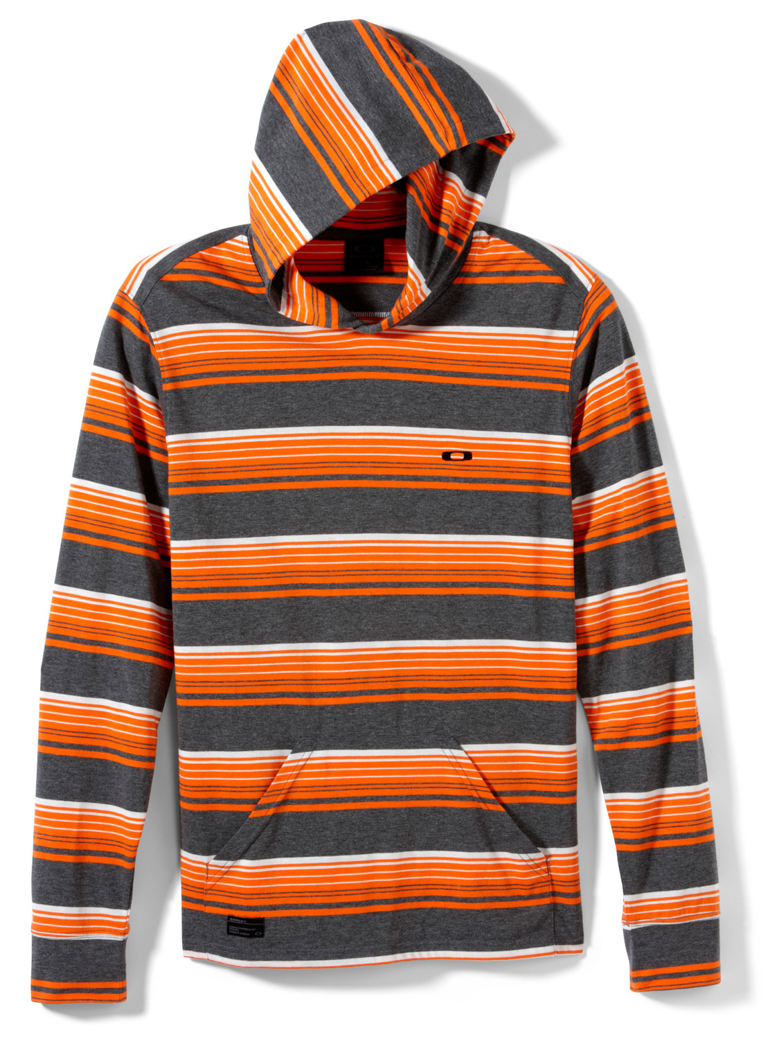 Lightweight yarn-dye striped pullover with marsupial pocket and front and back embroideries.Key Features of the Oakley Ray-Finned Hoodie: 60% cotton/40% polyester - $32.95