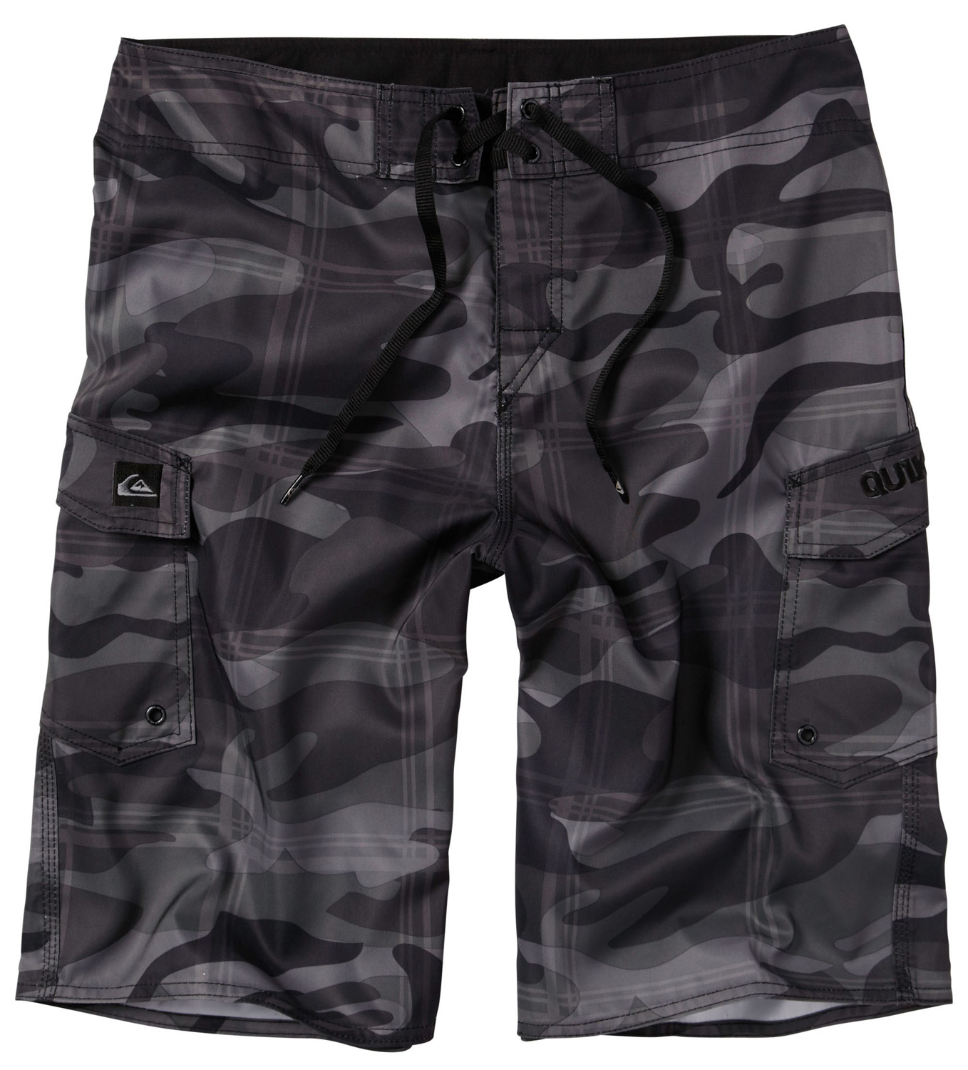 "Surf Key Features of the Quiksilver Manic Plamo Boardshorts: 100% polyester Water repellent Baja Twill 22"" Outseam Classic tie closure with Velcro at fly Double patch pockets Lycra at inside front rise Custom embroideries - $44.00"