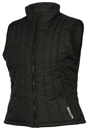 Ski Karbon Excelsior  Ski Vest Ladies:   Quilted vest built with Microsport 40D fabric and 4 oz. Thermik 1 insulation.  Bottom draw cord and zippered secure pockets. - $90.00