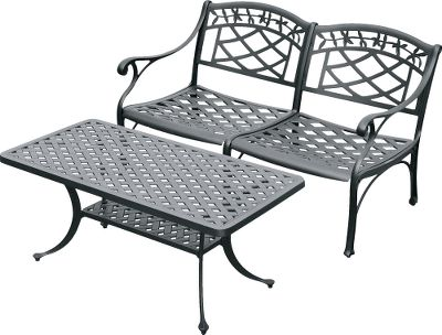 Camp and Hike Outdoor relaxation never looked so good. This Crosely Sedona love-seat and cocktail-table set will be the centerpiece of your backyard. Cast-aluminum construction with contoured seats provide sturdy, maintenance-free support. UV-resistant charcoal finish. Assembly required. Dimensions: 31H x 51W x 29.5D (love seat), 18.5H x 42W x 21D (cocktail table). Weight: 54.8 lbs. (love seat), 23.9 lbs. (cocktail table). Color: Charcoal. Type: Patio Sets. - $629.99