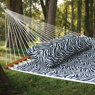 Camp and Hike Exotic, eye-catching Castaway Zebra-Print Hammock creates the perfect peaceful experience in a two-person design. Hammock mixes well with a variety of dcors. Mildew- and stain-resistant 100% polyester. Tree straps, hammock stand sold separately. Imported. Hammock dimensions: 78L x 52W. Overall length: 13 feet. Weight capacity: 350 lbs. Type: Hammocks. - $79.99