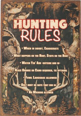 Hunting Rustic, outdoor-inspired wooden signs bring your adventurous lifestyle indoors. Signs feature full-color graphics, a key-hole hook and sawtooth hanger. Low-maintenance cleaning with a damp cloth. Imported. Dimensions: 14H x 20W x 2.25D. Available: Hunting Rules, True Catch, BuckStops Here, Fishermans Rules, Buck Country, Welcome to the Cabin, Moose Crossing, Enjoy Your Stay. - $17.99
