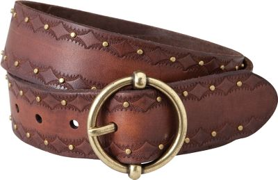 Fitness Dark tan, full-grain leather belt is hand-tooled with a distinctive embossed edge. Nailhead studs provide Western class with a circular buckle finished in antique brass. Imported.Width: 1-1/2.Sizes: S-2XL. Color: Brown. - $33.88