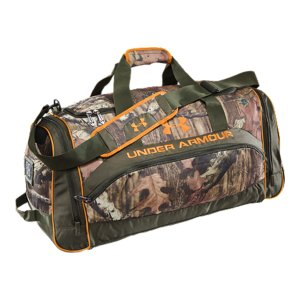 "Fitness An extra-large camo duffel bag that's big enough for all your hunting gear and then someSide pockets help you stay organized, in and out of the woodsDurable nylon fabric ensures this duffel will stand up to the outdoorsPadded shoulder strap delivers on-the-go comfort so you can stay focused on the gameLarge UA logo and wordmark add style and statement32"" x 16"" x 9.5""Imported - $59.99"