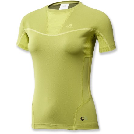 Fitness Light, breathable and moisture-wicking interlock fabric makes the women's adidas Terrex Swift T-Shirt a staple for your warm-weather training runs. ClimaLite(R) fabric, worn close to the skin conducts heat and sweat away from your body to keep you cool and dry. Mesh inserts on side panels optimize cooling airflow and comfort. Fabric provides UPF 50+ sun protection, shielding skin from harmful ultraviolet rays. Closeout. - $11.73