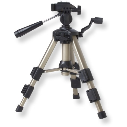 Entertainment The Carson Rock Junior is a 3-way panhead aluminum tripod that provides 360deg movement that's great for amateur photographers and bird watchers. Height extends from 11 - 18.5 in. When raising or lowering, the elevating/adjustable head provides smooth transitions for maximum viewing. 3-section legs feature quick-release locks. Rubberized feet keep tripod securely in place. Closeout. - $13.73