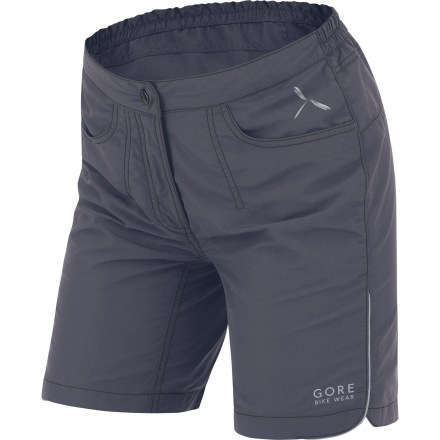 Fitness Great for shorter rides around town, these GORE BIKE WEAR Path Lady Bike Shorts+ offer style and performance for warm-weather jaunts on your bike. Nylon outer shorts resist abrasion and offer moisture-wicking, quick-drying performance for comfort on the ride; side slits at hem enable greater freedom of movement. Attached polyester mesh liner shorts quickly wick sweat away to help keep you cool. Chamois pad offers comfort over shorter distances and can be detached from liner shorts when it's not needed; pad attaches to liner shorts with rip-and-stick tabs. Reflective hits increase visibility in low light. 2 hand pockets and hidden zip back pocket. Back half of waistband is elasticized for a comfortable fit; front half is flat. Zippered fly closes with a single clasp. - $62.93