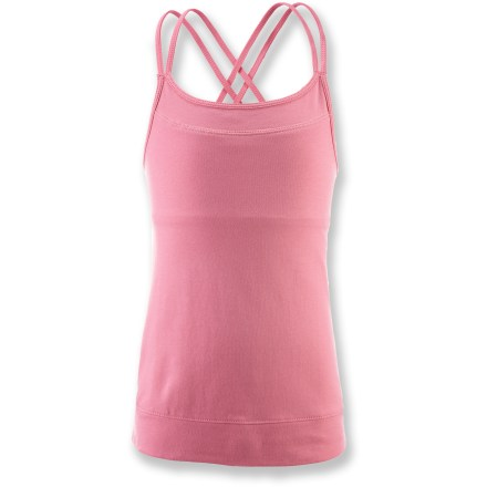 Entertainment The soft and comfortable girls' SOYBU Emmy tank meets the summer dress code with warm-weather style. Soft blend of cotton and modal with a touch of spandex offers light stretch. The SOYBU Emmy tank features cross-back straps for flattering style and a secure fit. - $13.93