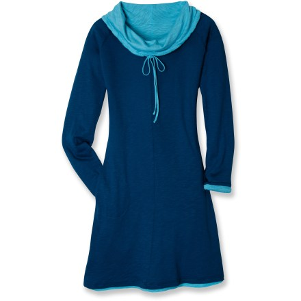 Entertainment The Kuhl Vega Reversible dress offers 2 looks in 1 dress, a nice perk for everyday wear and a versatile option for when you're traveling. Naturally, soft comfortable and easy to care for, the slub modal and organic cotton jersey fabric maintains its shape wear after wear. Cowl neck with drawcord lets you shape its style. Features raglan sleeves and a flush pocket. The Kuhl Vega Reversible dress falls just below the knees. Closeout. - $49.73