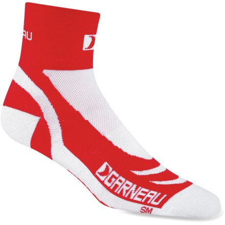 Fitness Cool, comfortable feet are essential for long days on the bike, and with performance fabric and a snug fit, the Louis Garneau Venti X-Lite bike socks make it easy to focus only on the road ahead. Combination of CoolMax(R) polyester, nylon and Lycra(R) is lightweight, breathable and stretchy; fabric wicks moisture and dries quickly to prevent blisters and hotspots. Mesh knit panels on top and bottoms of socks provide ventilation to keep your feet cool and dry. Closeout. - $3.73