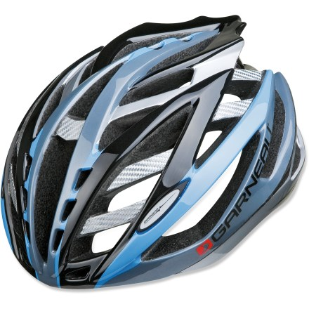Fitness The Louis Garneau Diamond bike helmet has an astounding 40 vents and weighs only 10 oz. to keep you cruising along in comfort on road rides. Patented design features a monocoque polycarbonate base that acts as an exoskeleton to provide excellent structural strength. 2 polycarbonate bars placed inside the helmet and 9 carbon bridge inserts add strength where it is needed without weighing down the helmet. Spiderlock PRO fit system allows quick adjustments to stabilize the helmet on your head; wheel mechanism is easy to operate with 1 hand. Quick-drying antimicrobial padding adds comfort and helps keep odors away. Small LED light is included, and attaches to the back of the helmet to increase your visibility at night; reflective stickers also catch the eyes of oncoming motorists. Louis Garneau Diamond bike helmet meets CPSC-ASTM-CEN standards for bicycle helmets. Closeout. - $132.93