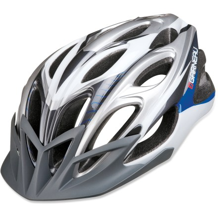 Fitness You only need to own 1 bike helmet with the Louis Garneau Global II helmet. It's designed to be used for both road and mountain biking. In-mold construction fuses a tough outer shell to the helmet's liner to create a light, cool and tough helmet. Internal frame system reinforces the helmet's structure without compromising ventilation. 21 vents combine with channels through the helmet to evacuate hot air so your head stays cool and comfortable on summer days. Spiderlock Elite adjustment wheel requires only 1 hand to operate so you can quickly and easily find the perfect fit. Washable, adjustable padding provides comfort. Includes a removable visor that adds protection against sun, rain and branches. Louis Garneau Global II bike helmet meets CPSC-ASTM-CEN-AS 2063 standards for bicycle helmets. Closeout. - $49.73