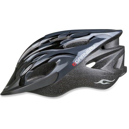 MTB The Louis Garneau Drift Jr bike helmet combines the style your child wants with the level of protection that you require. Drift Jr helmet can be used for mountain biking or road riding. Spiderlock Solo sizing system allows quick adjustments in order to maintain safety and comfort; easy to adjust with 1 hand. 25 vents allow excellent airflow to keep your child's head cool on hot summer days. Removable, washable padding can be moved around to achieve great comfort. Reflective stickers increase visibility at night. Included visor shades your child's eyes from the sun. Louis Garneau Drift Jr bike helmet meets CPSC-ASTM-CEN standards for bicycle helmets. Fits children with head circumferences from 20.5 - 22.4 in. Closeout. - $19.73