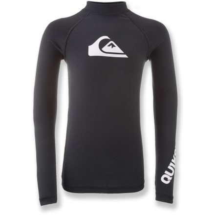 Surf The Quiksilver All Time long-sleeve rashguard is like a second skin with built-in sun protection and abrasion resistance. It's ideal for sunny surf days or as a layer underneath a wetsuit. Polyester/spandex blend dries fast and stretches for a perfect fit; slick surface protects skin from irritation. UPF 50+ fabric offers excellent protection from the sun. The Quiksilver All Time long-sleeve rashguard has flat-knit seams to minimize chafing. - $20.93