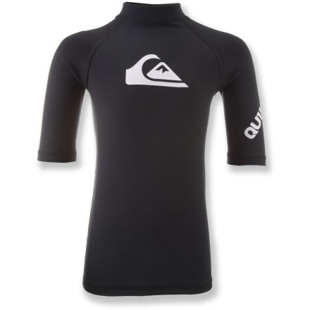 Surf The Quiksilver All Time rashguard is like a second skin with built-in sun protection and abrasion resistance. It's ideal for sunny surf days or as a layer underneath a wetsuit. Polyester/spandex blend dries fast and stretches for a perfect fit; slick surface protects skin from irritation. UPF 50+ fabric offers excellent protection from the sun. The Quiksilver All Time rashguard has flat-knit seams to minimize chafing. - $17.93