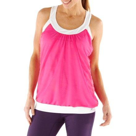 Fitness The REI Split Time tank top helps you pursue your fitness goals with soft comfort and an easy-going style. Brushed polyester fabric lining features an extremely soft feel against skin, and ruching at U-neck offers a nice touch of style. Sheer crepe outer layer offers high breathability and creates a draped look on back of tank. Moisture-wicking fabric pulls moisture away from skin to keep you comfortable during activity. Fabric provides UPF 50+ protection from harmful solar rays. The REI Split Time tank top offers an active fit that provides a full range of motion. - $21.93
