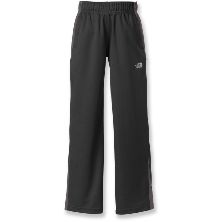 The Shifter Performance pants from The North Face are perfect for boys who never know what kind of adventure is coming next. He'll be ready to tackle anything in these light but durable pants. Lightweight polyester uses VaporWick(TM) to wick moisture away from skin so he stays dry even when working hard; fabric also dries quickly after being rinsed or hand-washed. Integrated UPF 50+ sun protection continuously guards against harmful ultraviolet rays so his skin stays safe no matter how long he plays outside. Elastic waistband with internal drawstrings allows for a snug, personalized fit. Welt hand pockets provide easy storage. - $19.83