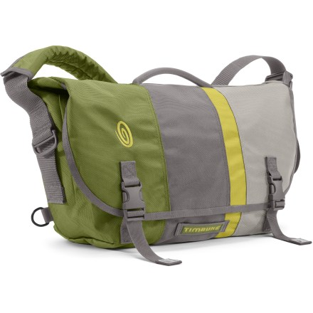 Entertainment Whether you commute by bike, bus, car or on foot, the Timbuk2 D-Lux small messenger bag keeps your gear securely stowed and organized so you feel ready for any adventure the day might hold. Tough, ballistic nylon exterior holds up well over years of daily use; waterproof thermoplastic urethane interior makes clean up a breeze and keeps your gear dry. Center laptop sleeve with ventilated foam padding comfortably fits a 13 in. laptop; separate padded tablet compartment keeps your electronics organized. Side-entry Napolean pocket allows you to access small items such as wallet or phone quickly, without unbuckling the top flap of the bag. Front organizer keeps small things such as pens, keys, lip balm and cash separated and easy to find; multiple interior organizers provide plenty of storage. Exterior waterproof zipper allows 1-step access to the laptop compartment and main compartment without opening the entire bag. Carry handle makes toting the Timbuk2 D-Lux messenger bag easy when you're traveling short distances. Closeout. - $79.73