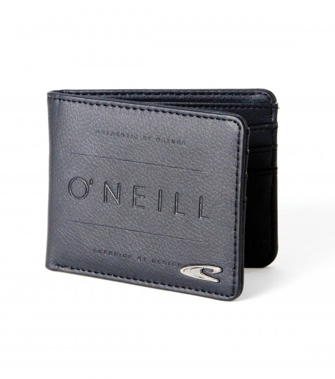 Surf O'Neill Cleaned Up Wallet.  PU bi-fold wallet with faux leather interior bill liner; exterior metal wave pin and logo emboss; and interior logo deboss. - $22.00