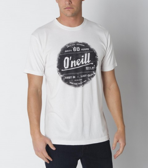 Surf O'Neill tee 100% ringspun cotton; prewashed 30 singles slim fit tee with softhand screenprint and attached hem label. - $22.00
