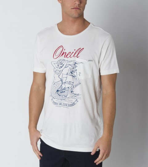 Surf The O'Neill She Calls Tee is made from 100% ringspun cotton; prewashed; slim fit tee with softhand screenprint; relaxed neck and attached clip label on pocket. - $29.50