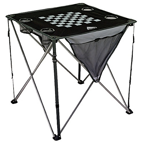 Entertainment Kelty Soft Top Table DECENT FEATURES of the Kelty Soft Top Table PVC-free Durable steel frame Side mesh pockets Transport sack Printed chess/checker board Four mesh-bottom beverage holders The SPECS Frame: Steel frame Table Top: 600D Polyester Ripstop Total Weight: 5 lbs 8 oz / 2.5 kg Weight Capacity: 100 lbs / 45 kg Seat Dimension: 26.75 x 26.75 x 26.75in. / 70 x 70 x 70 cm Frame Diameter: 13 mm - $38.95