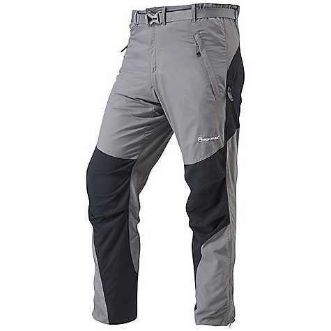 Climbing Free Shipping. Montane Men's Terra Pant FEATURES of the Montane Men's Terra Pant Wind and water resistant, fast drying Cotton-feel Tactel fabric Extremely durable Cordura reinforcement patches on seat, knees and inner ankles Twin needle sewn seams for extra durability Articulated knees for step high movement, perfect for mountain use Tailored waist to reduce excess fabric with repairable button fastening Zipped fly and removable webbing belt, with low profile buckle Two zipped hand pockets for storage of essentials whilst on the move Zipped pull out security pocket Two mesh lined thigh vents to aid cooling when working hard 1/4 length side zips for access, ventilation and the ability to pull over trail footwear Press stud ankle adjustment for tight fit against footwear and to prevent heat loss UPF 40+ protection Activities: Rock Climbing / Mountain Walking / High Trekking / Backpacking / Travel - $104.95