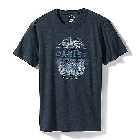 Oakley Men's Extra Strong Vintage Tee DECENT FEATURES of the Oakley Men's Extra Strong Vintage Tee Heather crew neck tee with front screen print 50% Cotton, 50% Polyester Fit: Regular - $25.00
