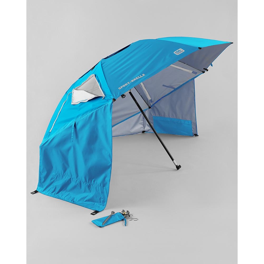 Camp and Hike Eddie Bauer Sport-Brella Umbrella - It's a beach umbrella, a sun tent, a rain shelter-basically a warm-weather home away from home you can sling over your shoulder. Made of rugged polyester, it opens to an expansive 8 feet in diameter, with attached side flaps for full protection. Top wind vents and side zippered windows for efficient airflow. UPF 50+ sun protection. Make your next weekend adventure a lot more comfortable. - $59.99