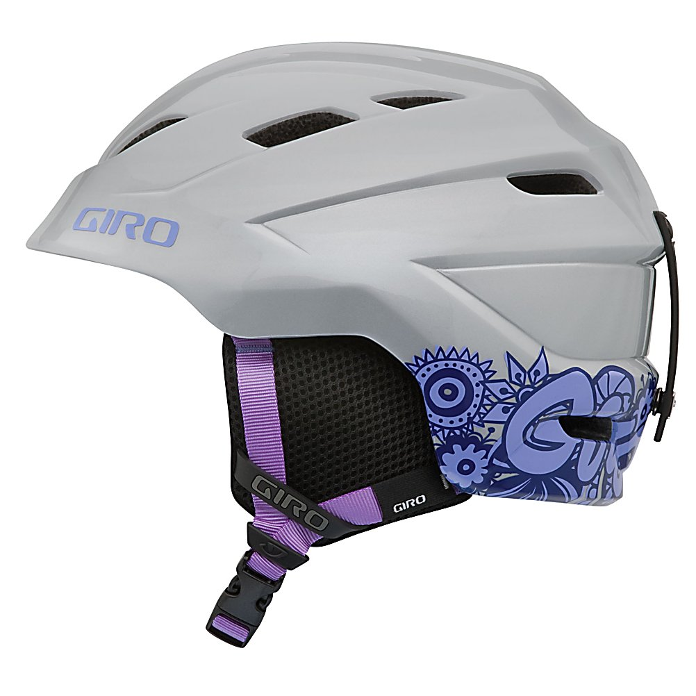 Ski Giro Nine.10 Girls Helmet - The Giro Nine.10 is the best youth ski helmet ever made, period. Giro checked. How could it not be with an In Form fit system and killer graphics. 14 Super Cool vents with Weatherstrip vent shield that seals off vents in extremely cold conditions. A Velcro tab secures the shield when not in use to allow proper ventilation. Simply open the Velcro tab to unroll the shield over its corresponding vent. Seriously, Best helmet Ever. . Model Year: 2012, Product ID: 228717, Shell Construction: In Mold, Year Round Capable: No, Custom Fit Adjustment: No, Ventilation: Adjustable, Brim/Visor: No, Audio: Not Compatible, Category: Half Shell, Race: No, Special Features: 14 Super Cool vents with Weatherstrip vent shield, Special Features: Cute, Gender: Girls, Warranty: Lifetime, Certifications: ASTM F2040 / CE EN 1077 - $49.95