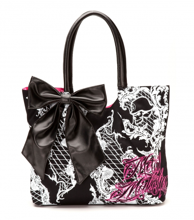 "Motorsports Metal Mulisha Maidens Purse. Canvas tote with screenprint; black faux leather trim; black canvasbow detail; and satin lining. 17""W x 12.75""T x 4""D - $30.99"