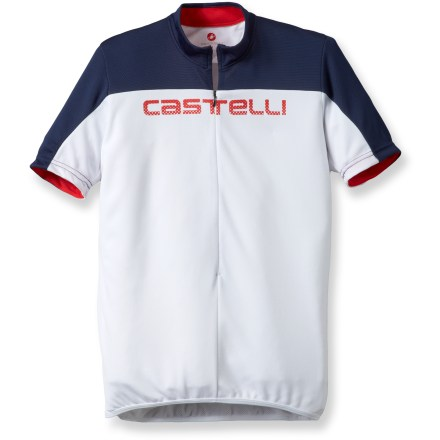 Fitness Soft, breathable fabric and a semifitted cut make the Castelli Prologo HD bike jersey perfect for long days in the saddle when comfort is key. Multiple pockets keep on-the-go necessities in place. Lightweight, soft polyester fabric wicks moisture away from skin and dries quickly, keeping you cool and dry as you start to work up a sweat. 16 in. partial zipper allows immediate ventilation when you need it. 3 elastic rear pockets easily store energy gels, spare tube, phone and other items; rear zip pocket with hidden zipper secures small essentials such as ID or credit card. Elastic droptail hem on the Castelli Prologo HD bike jersey offers coverage in the riding position and a stay-put fit. Closeout. - $19.73